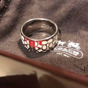 💯🌹COACH RING- silver and white enamel cc sz8